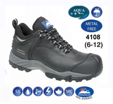 4108 Himalayan Black Waxy Fully Waterproof safety Shoe Metal Free